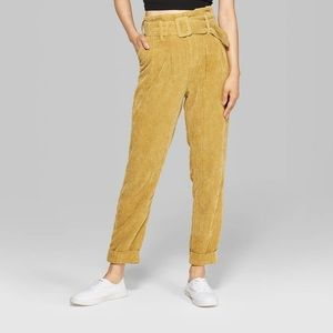 💜High-Rise Belted Corduroy Paperbag Pants